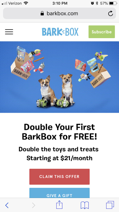 BarkBox's CTA shortcuts