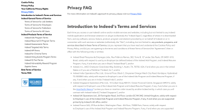 Indeed Legal page with info on cookies, privacy, California user rights and terms of service