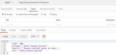 Voucherify API returns error code 400