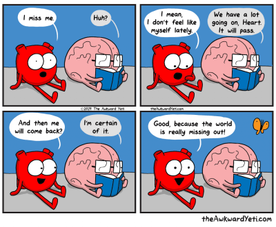 A comic from 'The Awkward Yeti' titled 'Return of Me'
