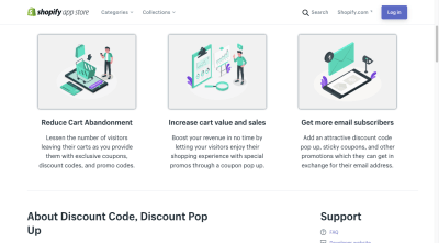The Shopify app page for Discount Code, Discount Pop Up includes attractive companion graphics for its features and benefits