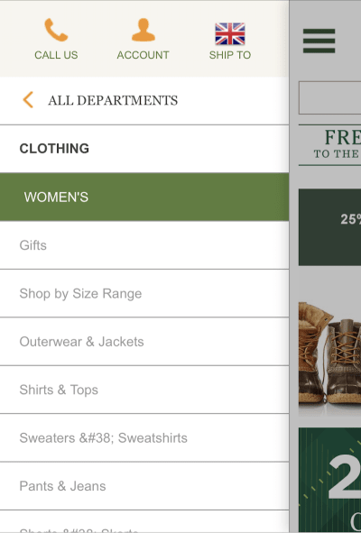 L.L.Bean hamburger navigation