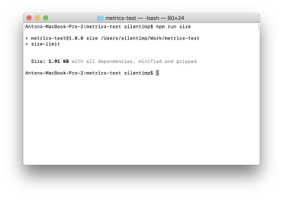 The result of command execution shows the size of index.js