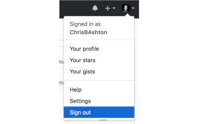 sign out link in dropdown menu