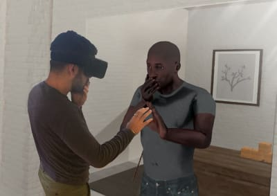 A VR user looks into a virtual mirror and sees himself as a character in a VR environment. (Image credit: businesswire)