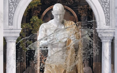 A realistic collage featuring a 3D sculpture smashing water