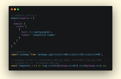 A screenshot of a terminal showing how the webpack loader named responsive-loader can be used to help you generate responsive images out of the box