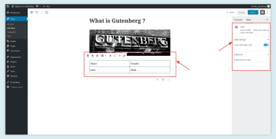 Table Block in Gutenberg