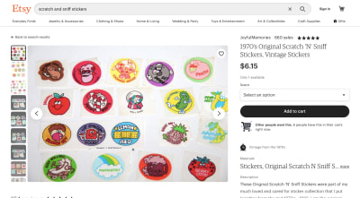 Etsy - 1970s Original Scratch 'N' Sniff Stickers
