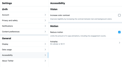 A screenshot of the accessibility tab of Twitter's settings panel