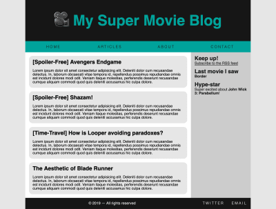 A blog layout with a banner up top, with a menu below it. The main area has a large section for content and a smaller side area for secondary content. At the bottom is a footer with a copyright note and links to the author's Twitter page and their email.
