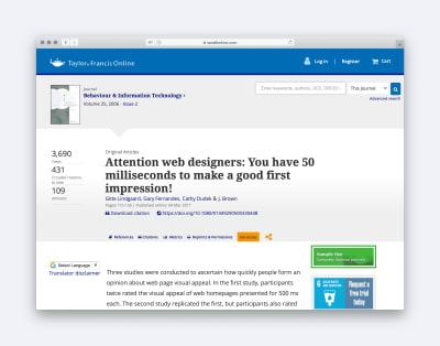 Article intitulé: À l'attention des concepteurs Web, vous disposez de 50 millisecondes pour faire bonne impression