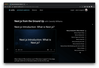 Screenshot of Cassidy Williams's Next.js mission on Jamstack Explorers.