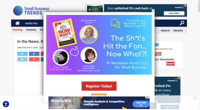Small Business Trends website pop-up 'The Sh#t's Hit the Fan… Now What?!' webinar promotion
