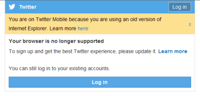 Screenshot of Twitter registration screen