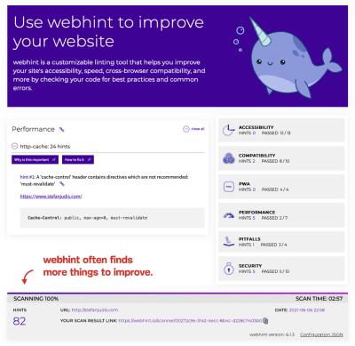 webhint screenshot