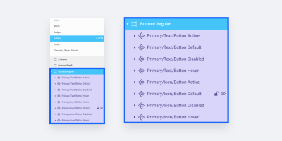 Showing the main page named 'Buttons', the frame named 'Buttons Regular' and the layer named 'Primary/Text/Button Hover' as example of the possible structures.