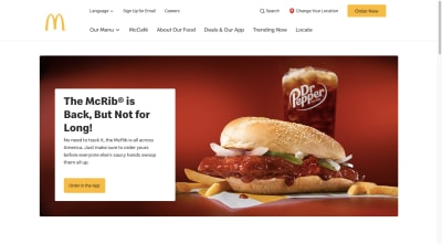 A screenshot of the McDonald's website advertising the return of the McRib sandwich