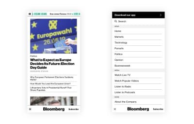 Bloomberg website with a reimagined bottom navigation