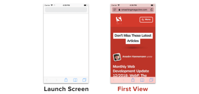 Launch screen and first view look similar