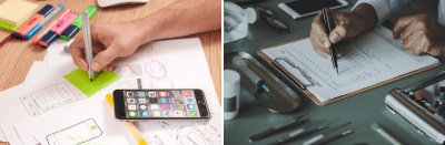 Left image: Design is deep work. Right image: Filling out a checklist is shallow work.