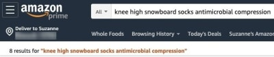 Amazon search knee high snowboard socks antimicrobial compression