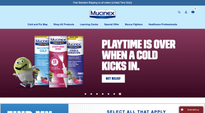 Mucinex website 2020 - Mr. Mucus kid