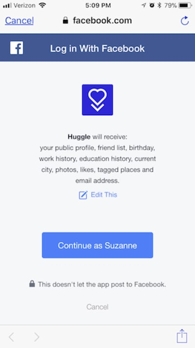 Huggle enables Facebook login.