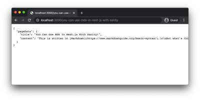 A JSON object displayed in the browser with the title and unprocessed MDX content for the page.