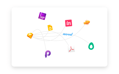 Logos from products like Sketch, Principle, Invision, and more loosely tied together