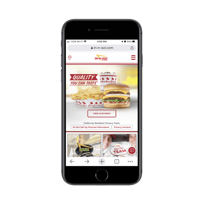 In-N-Out Burger website on mobile
