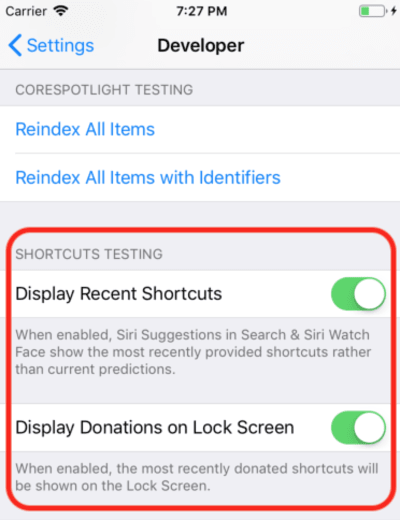 Screenshot of Siri debug settings