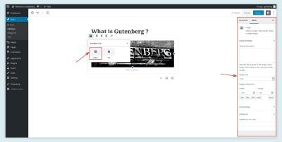 Paramètres d'image dans Gutenberg
