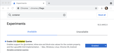 """View of the search results within Chrome Canary's chrome://flags settings screen showing the """"Enable CSS Container Queries"""" item with a status of """"Enabled"""""""