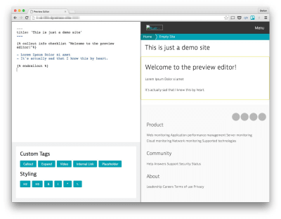 A simple content preview editor that allows fast Markdown to HTML conversion