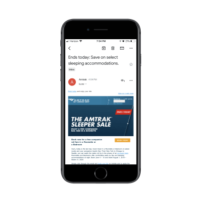 Amtrak email on Gmail mobile app