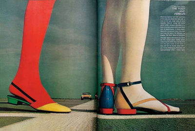 The Foot and the Ferrari.' Spread from Harper's Bazaar, March 1967. Photography by Bill Silano. Art direction by Bea Feitler and Ruth Ansel.