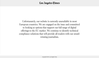 los-angeles-times' message stating that the website was unavailable in most European countries