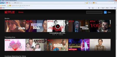 Screenshot of Netflix dashboard for logged in user