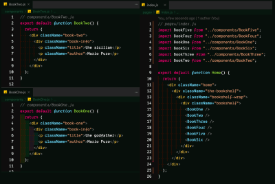 A screenshot of the initial changes made to BookTwo.js, BookOne.js, and index.js