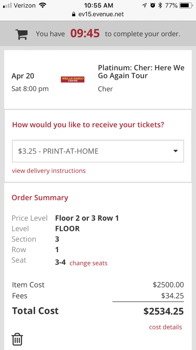 Wells Fargo Center auto-choose ticket