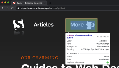 The Inspect Element tooltip appearing for an inspected button element. The tooltip shows various element properties, such as padding and role