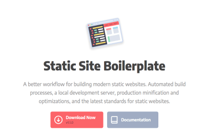 The Static Site Boilerplate utilizes the latest tech to make building static sites more straightforward