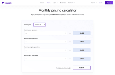 A screengrab of Fauna's pricing calculator found on their site