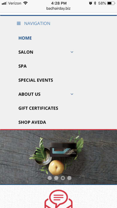 The simplified navigation menu for the Bad Hair Day website.