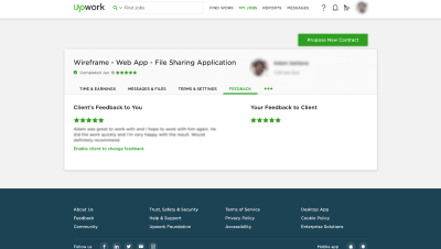 A screenshot taken from Upwork with reviews