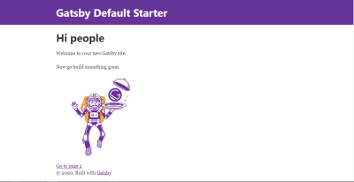 Gatsby default landing page