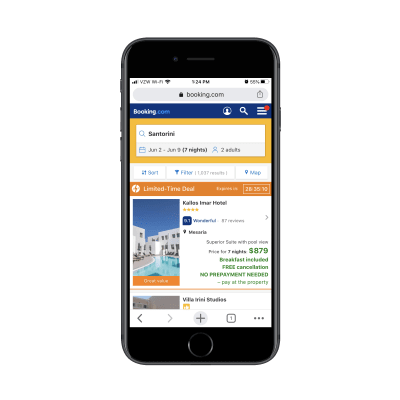 Booking.com results for 'Santorini Greece hotels'