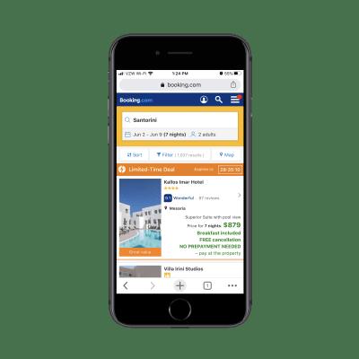 Résultats Booking.com pour 'Hôtels à Santorin en Grèce'