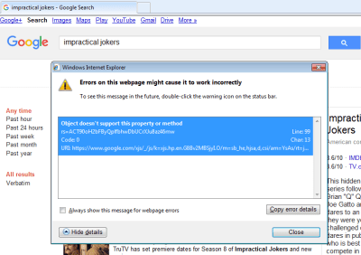 "Screenshot of Google search error ""Object doesn't support this property or method"""